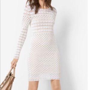 NWT Michael Kors white hand-crochet cotton dress